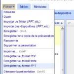 Exporter en PPT avec Google Documents