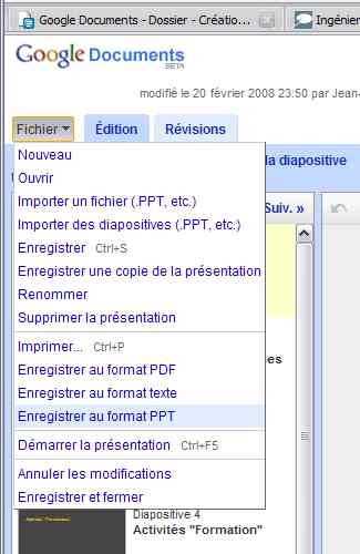 Exporter en PPT avec Google Documents